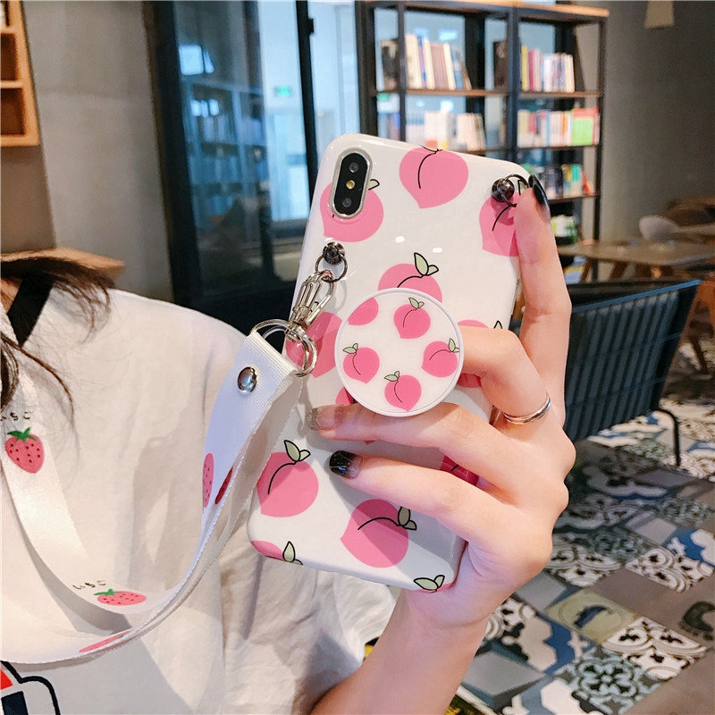 Peach Soft Case IPhone X XS Max XR Stand Holder Cover IPhone 6 6S 7 8 Plus with La