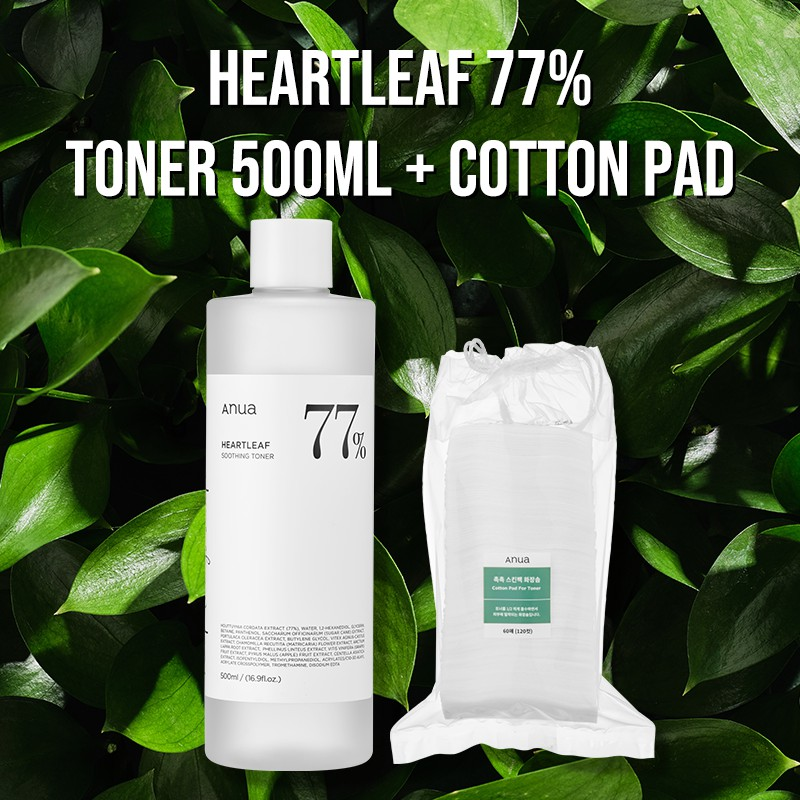 [ANUA] Heartleaf 77% Soothing Toner 500ml / Cotton Pad for Toner Set