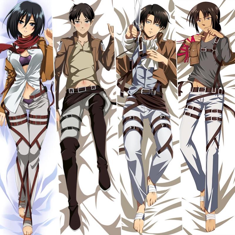 หมอนอนิเมะDakimakura Pillowcase Attack on Titan Levi Eren Mikasa Game Anime Tanbi Male Anime Game Character Pillow Cover