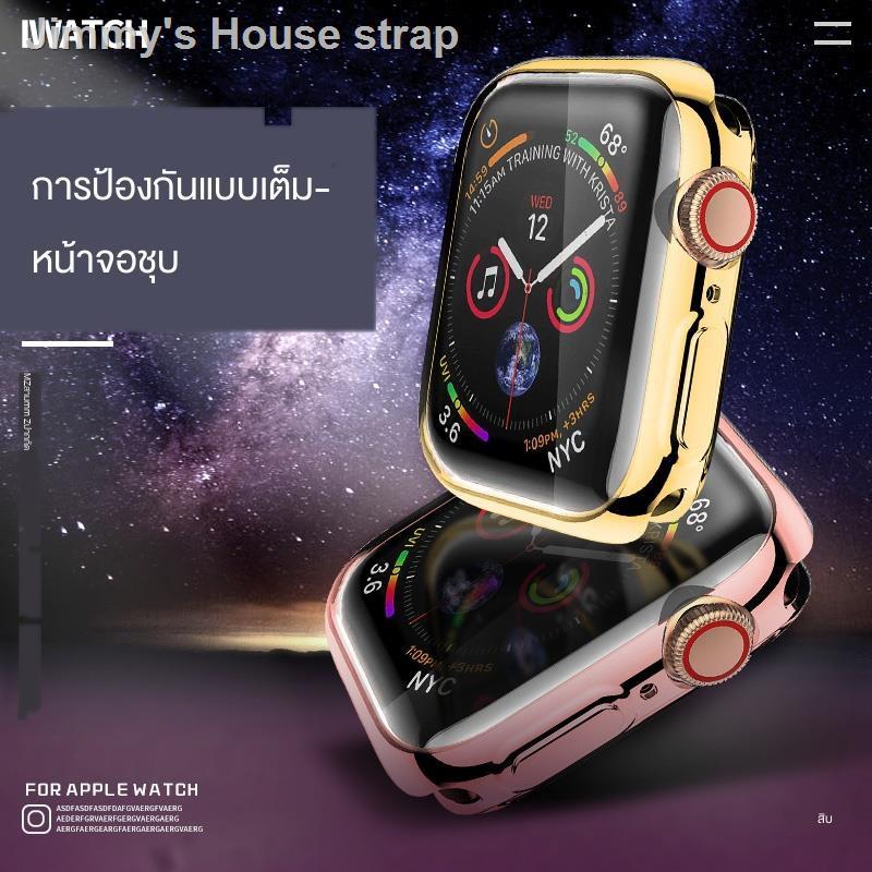 band สาย✥Hyun Wear เคส Apple Watch iwatch4 5/3/2/1 รุ่น Electroplating Soft ซิลิโคนแบบเต็มฝาปิด Applewatch Cover Series