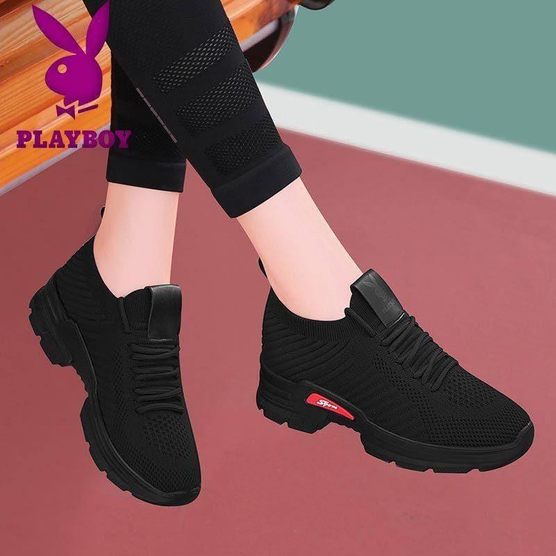 🔥สินค้าใหม🔥!พร้อมส่ง!รองเท้ายาง!รองเท้าแฟชั่นผู้หญิง! รองเท้าผู้หญิง Playboy รองเท้าผ้าใบสีดำทั้งหมด 2020 รองเท้าฤดูใบไม้ผลิใหม่ผู้หญิงรองเท้าอินเทรนด์รองเท้าลำลองรองเท้าเก่า