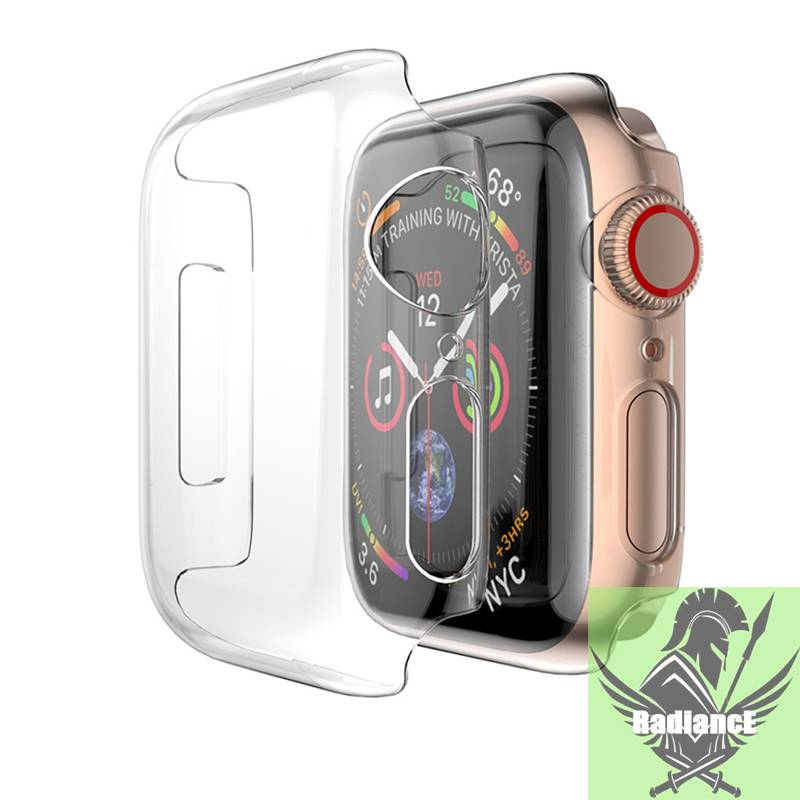 【Lightning delivery】Full case สำหรับ Apple Watch series 6 SE 5 4 3 Plastic frame screen protector for iWatch cover thin fit cover band 40 44mm