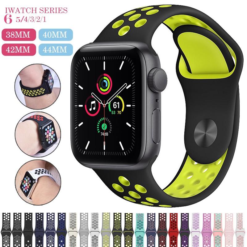 สายคล้องนาฬิกาข้อมือซิลิโคนสำหรับ for Apple Watch 38 มม. 40 มม. 42 มม. 44 มม. For iWatch Series 6 5 4 3 2 1 Sport Band