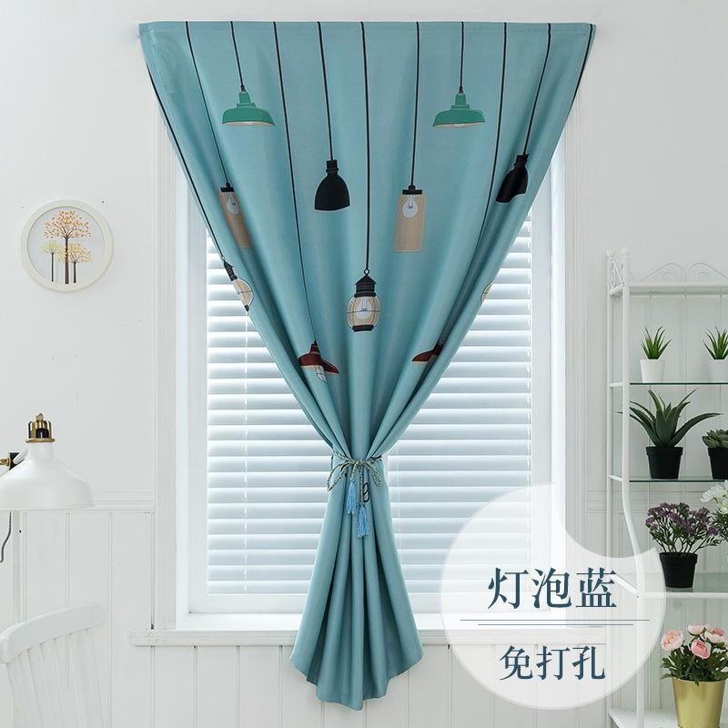 🍏ติดต่อฝ่ายบริการลูกค้าก่อนสั่งซื้อสินค้า🍏 เรียบง่ายทันสมัยฟรีเจาะติดตั้งผ้าม่านสำเร็จรูปง่ายกาวในตัวVelcroห้องนั่งเล่นแ