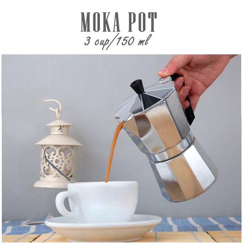หม้อต้มกาแฟสด moka pot 3 cup เครื่องทำกาแฟสด เครื่องทำกาแฟพกพา coffee maker