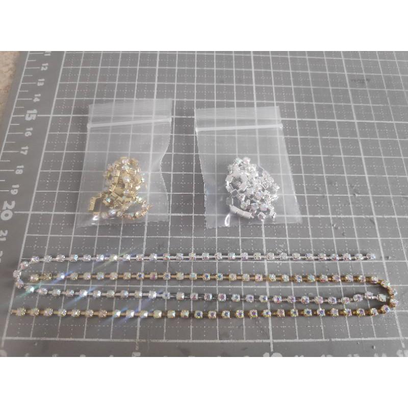 พลอยเส้นขาวมุก3มิลฐานเงินฐานทอง 30ซม. 1เส้น ราคา 9 บาท