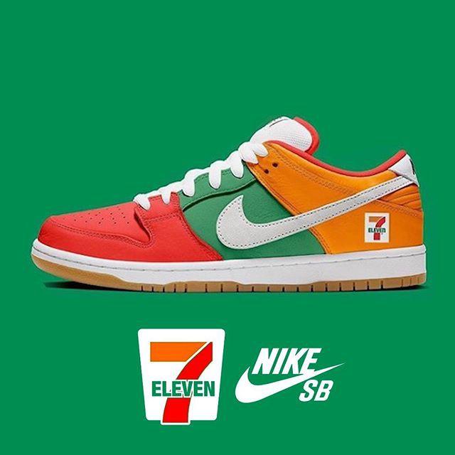 เข็มพิเศษของแท้  Nike SB DUNK LOW X 7-Eleven 7-11ร้านสะดวกซื้อ ร่วม ผู้ชาย รองเท้า รองเท้าสเก็ตบอร์ด การขนส่ง