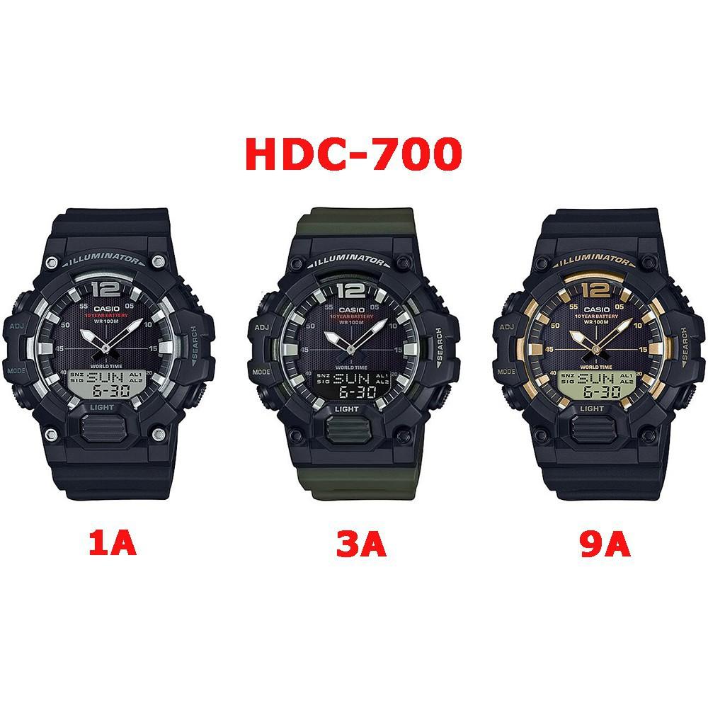 ผลิตภัณฑ์ใหม่☃♣♣Casio ของแท้ นาฬิกาผู้ชายสายเรซิ่น HDC-700 SERIES อายุแบตเตอรี่ 10 ปี รับประกัน 1ปี HDC700