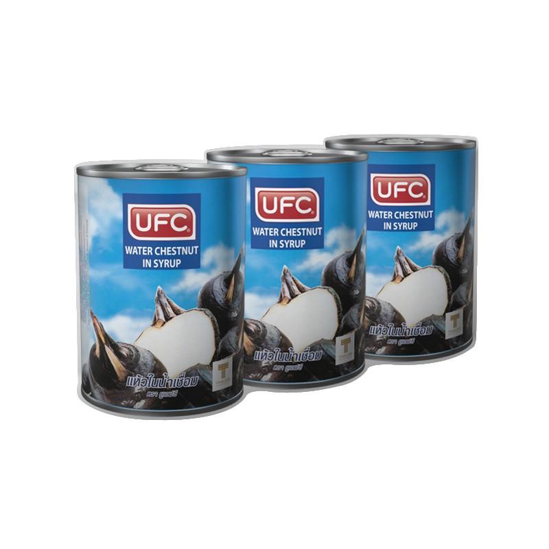 ยูเอฟซี แห้วในน้ำเชื่อม 565 กรัม x 3 กระป๋อง UFC water chestnuts in syrup 565 grams x 3 cans