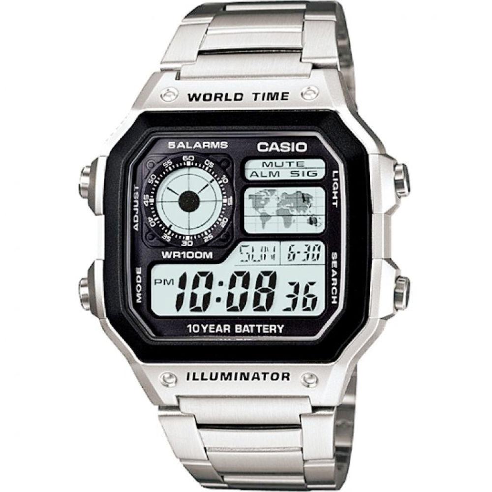 จัดส่งฟรีCasio แบตเตอรี่ 10 ปี World Time นาฬิกาข้อมือ สายสแตนเลส รุ่น AE-1200WHD-1A ของแท้ ประกัน CMG