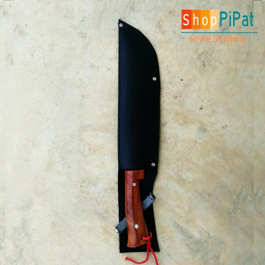 มีด, มีดสปาต้า, มีดพก, มีดเดินป่า, อรัญญิกแท้ ใบมีด 9 นิ้ว เหล็กแหนบ ด้ามไม้ พร้อมฝักหนัง