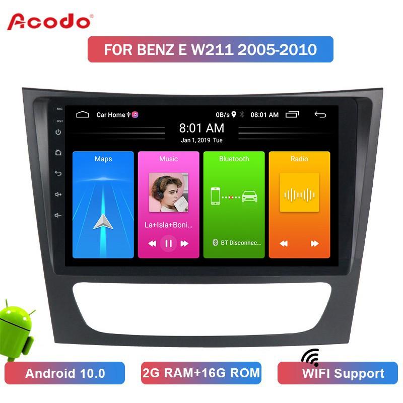 Ao 2 + 16 G Android 10 . 0 เครื่องเล่นมัลติมีเดียวิทยุในรถยนต์สําหรับ Benz E W 211 Navigation Gps 2 Din