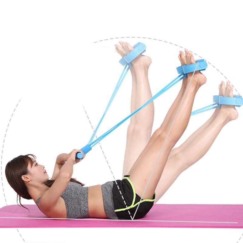 ยางยืดออกกำลัง ยางยืดออกกำลังกาย เชือกดึงออกกำลังกาย แบบมีที่เหยียบและด้ามจับโฟม รุ่นสายแรงต้าน 4 เส้น!!! แรงต้านสูง