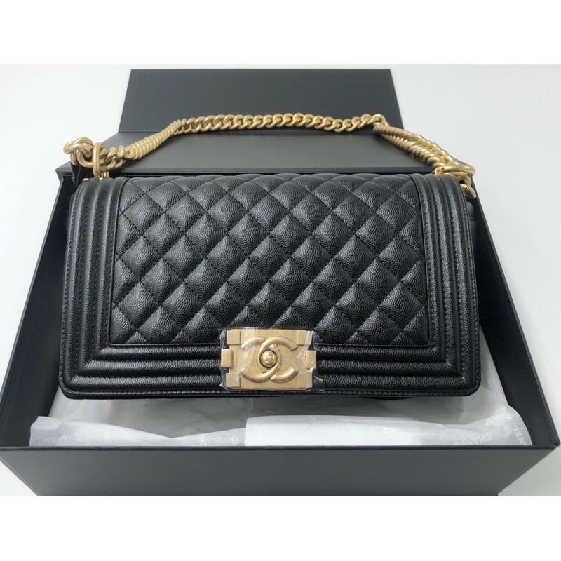 """Chanel Boy 10"""" Caviar Black GHW Holo30 Full set ori rec"""