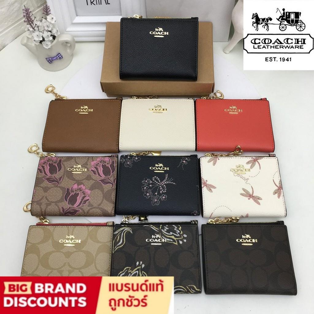 [Big Brand Discounts] Coach จัดส่งในวันเดียวกัน F73867 กระเป๋าสตางค์ผู้หญิงกระเป๋าสตางค์ใบสั้นหนังเกรนสีทึบcoach