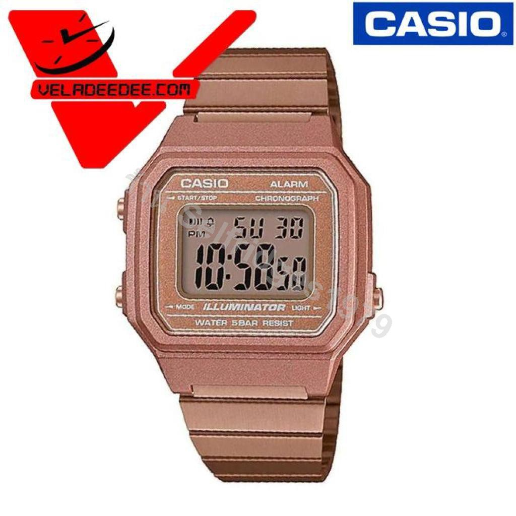 Veladeedee นาฬิกา Casio (คาสิโอ)  (ประกัน CMG 1ปี) Digital สายสแตนเลส  B650WC-5ADF  B650WB-1BDF  รุ่น B650WB-1B (สีดำ) B