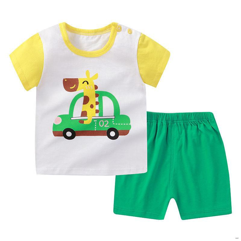 ยางยืดออกกําลังกาย✠(ชุดเด็ก)  ชุดเด็กแขนสั้น, เสื้อผ้าฝ้ายสำหรับเด็กในช่วงฤดูร้อน, เสื้อยืดเด็กผู้ชาย, กางเกงขาสั้นเด็ก