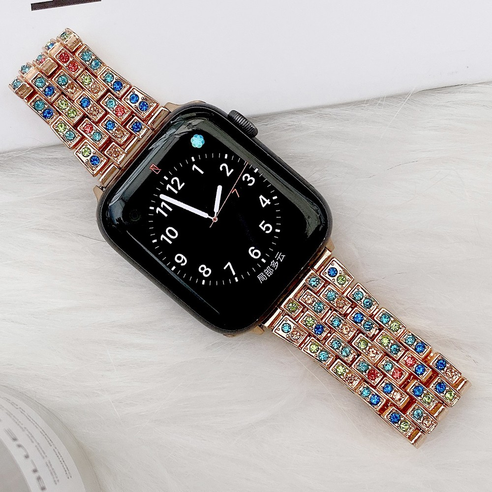 Luxury สายนาฬิกา Apple Watch Straps Diamonds Bling เหล็กกล้าไร้สนิม สาย Applewatch Series 6 5 4 3, Apple Watch SE Stainless Steel สายนาฬิกาข้อมือ for apple watch iWatch Series5,Series4 ,Series3,Watch band iwatch size 38mm 40mm 42mm 44mm