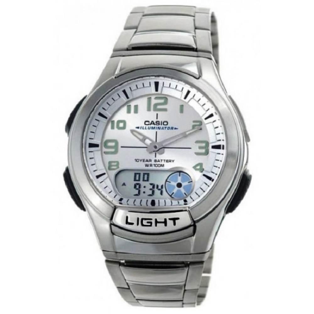 Casio Standard นาฬิกาข้อมือผู้ชาย สายสแตนเลส รุ่น AQ-180WD-7BVDF - silver