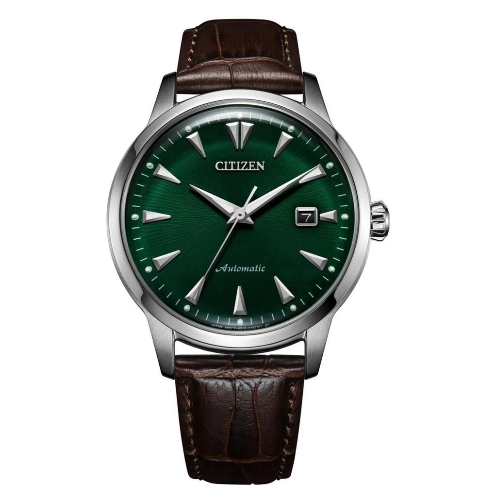 นาฬิกาข้อมือ ผู้ชาย CITIZEN KUROSHIO '64 Automatic รุ่น NK0001-25X หน้าปัดสีเขียว ตัวเรือนเหล็ก Stainless Steel สายหนัง