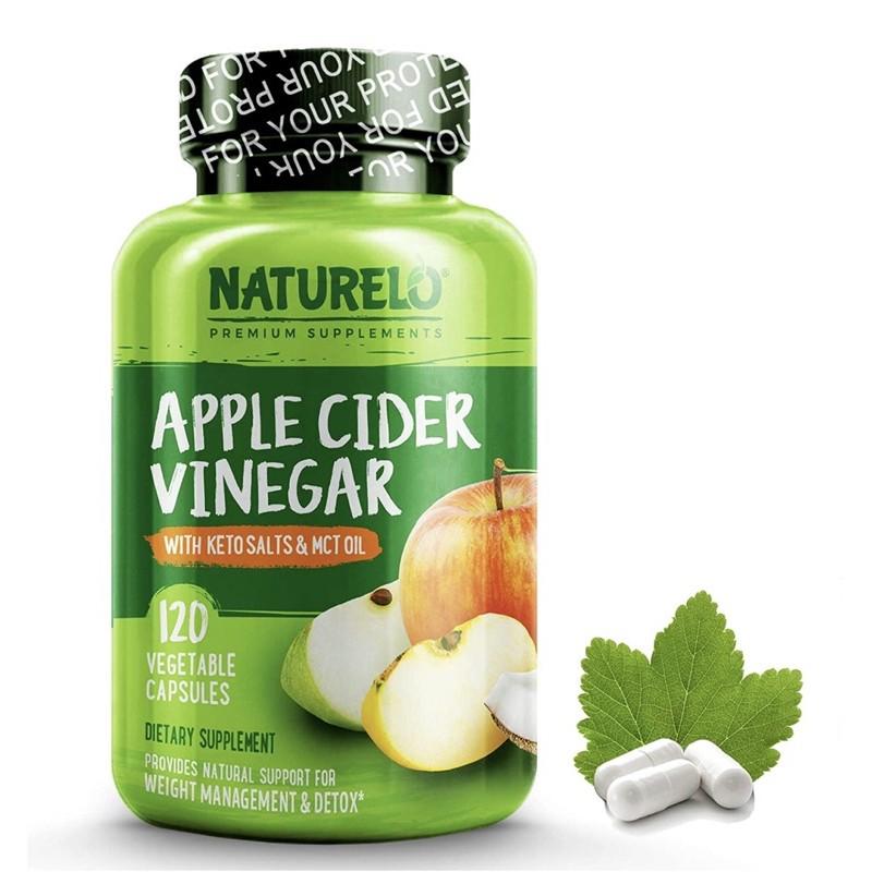 ✨Pre-Order✅ NATURELO, Apple Cider Vinegar with Keto Salts & MCT Oil, 120 Vegetable Capsules🇺🇸