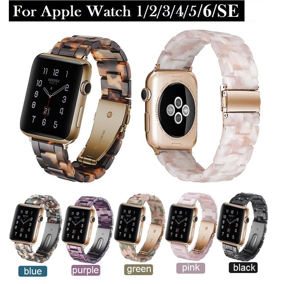 ☌▬สายนาฬิกา Apple Watch Resin Straps เรซิน สาย Applewatch Series 6 5 4 3 2 1 /  SE Stainless Steel สายนาฬิกาข้อมือ