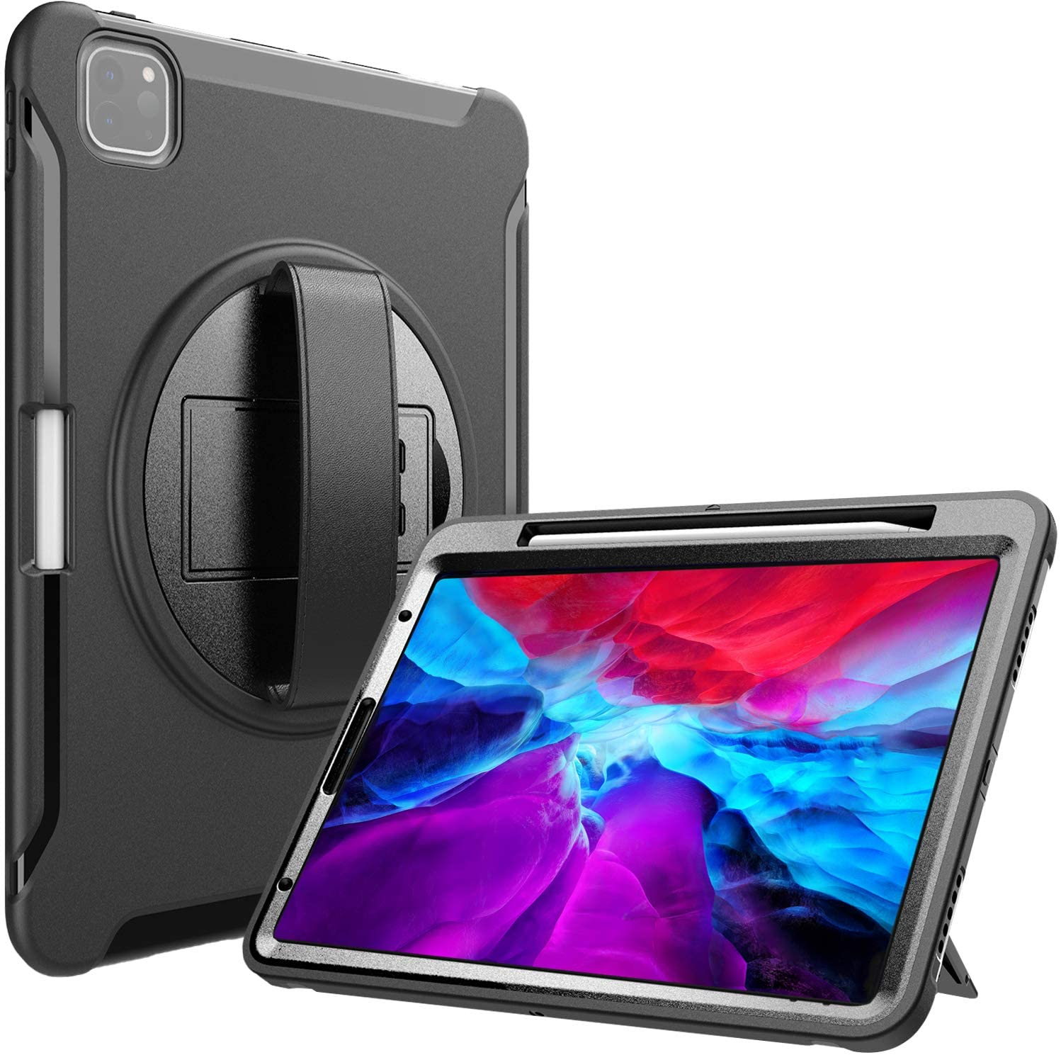 iPad Pro 12.9 Ruggued Case 2020 & 2018 [Support Apple Pencil 2 Charging], Heavy Duty Shockproof Rotatable Kickstand Prot