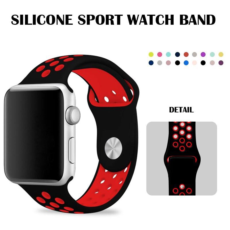 42มม.สายนาฬิกาข้อมือซิลิโคน 38มม.สําหรับ Apple Watch Nike Series 2 Iphone Watch Series 5 สีดําพร้อมสายรัดข้อมือ 44 40มม.
