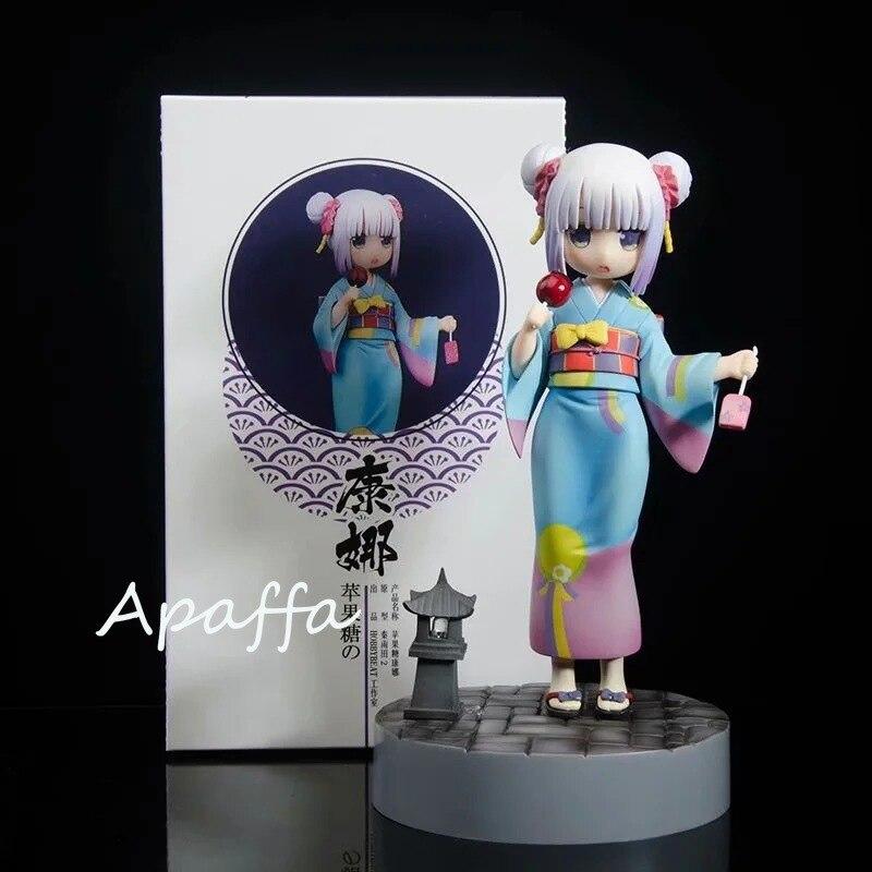 18cm Anime Figures KannaKamui Maid Bathrobe PVC Action Figure Toys Miss Kobayashi's Dragon Maid Figure Collection Model
