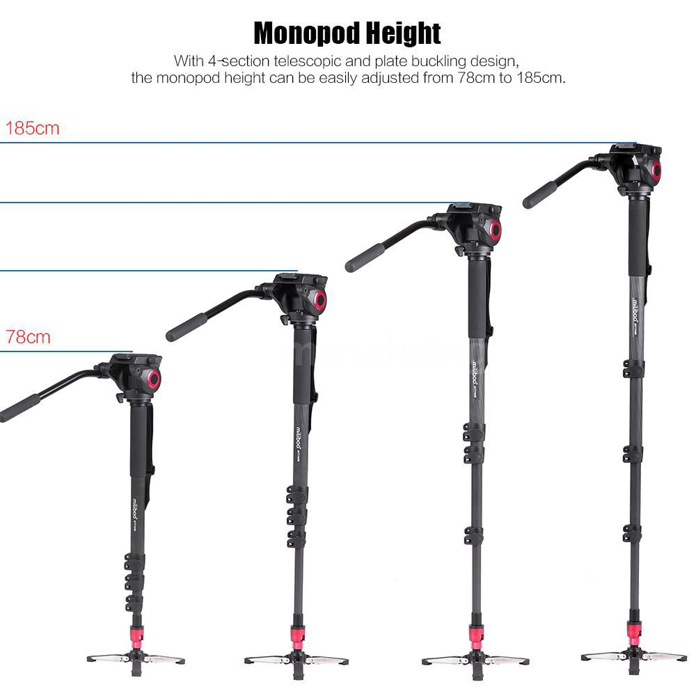 Carbon Fiber Portable Camera Tripod Monopod Trekking Stick,KINGJOY Portable Detachable Tripod with Ball Head and Quick Release Plate for for DSLR Camera Video Camcorder Load up to 22lbs//10kg