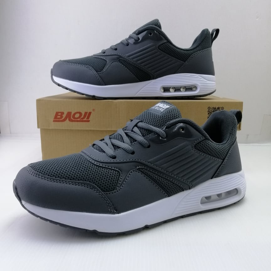 (BJM366) BAOJI รองเท้าผ้าใบบาโอจิ สำหรับผู้ชาย รุ่นใหม่ สีเทา Size
