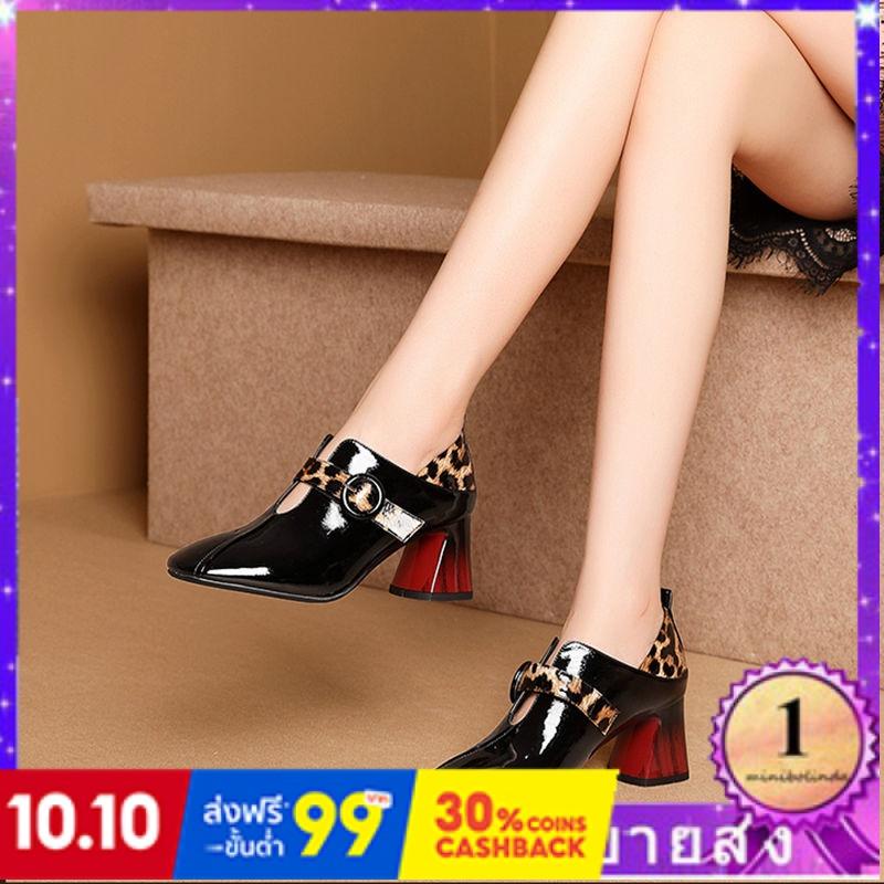 ⭐👠รองเท้าส้นสูง หัวแหลม ส้นเข็ม ใส่สบาย New Fshion รองเท้าคัชชูหัวแหลม  รองเท้าแฟชั่นรองเท้าส้นสูงของผู้หญิงหนากับรองเท้