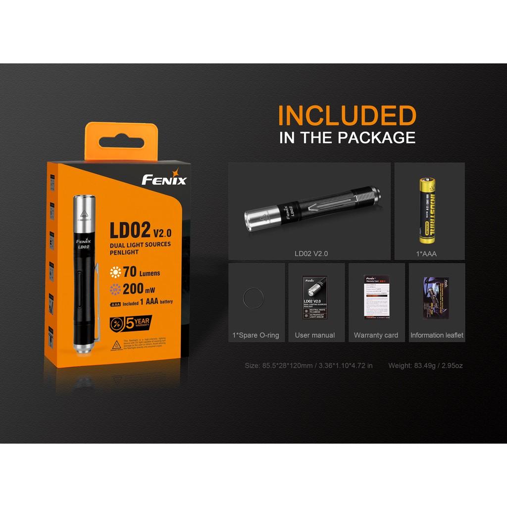 ไฟฉาย Fenix รุ่น LD02 V.2 มีแสง UV