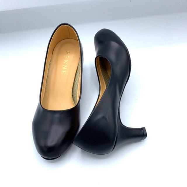 Penne เพนเน รองเท้าผู้หญิงคัชชูนักศึกษา/ทำงานมีส้นหัวมน สีดำ ไซส์ 36-41 สูง 2 นิ้ว สินค้าพร้อมส่ง!