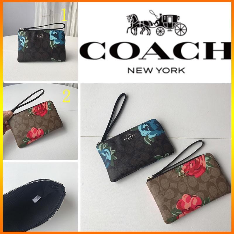 Coach F 39180 กระเป๋าสตางค์ใบสั้นสําหรับสตรีลายดอกไม้