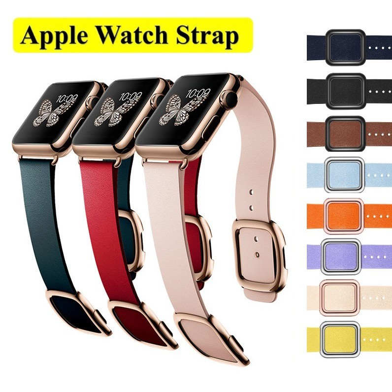 ▨สายนาฬิกา Apple Watch Straps เหล็กกล้าไร้สนิม แม่เหล็ก กระดุม สาย Applewatch Series 6 5 4 3 Strap Leather SE band Magn