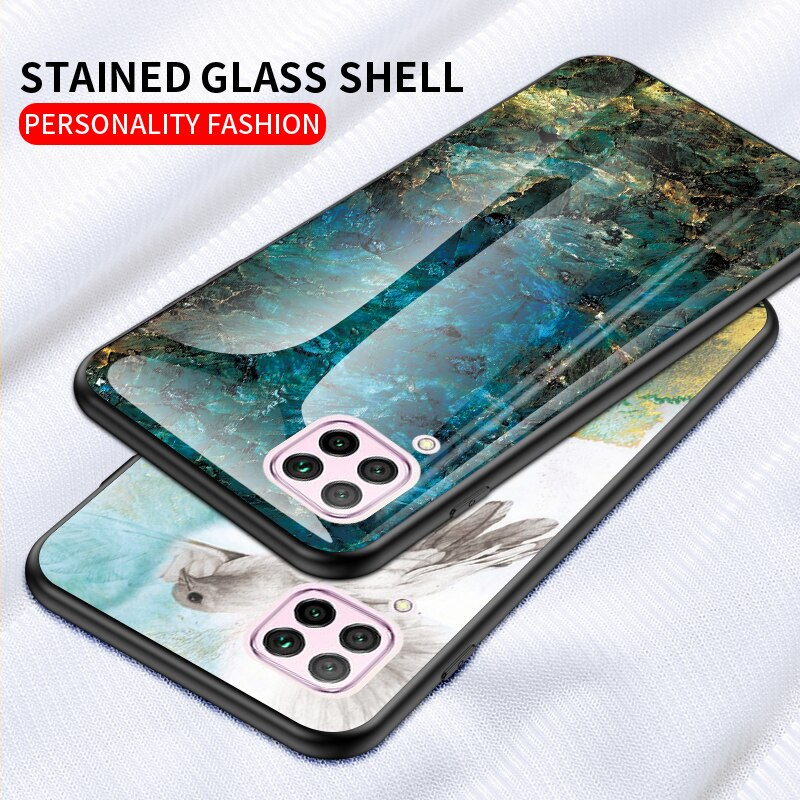 For Samsung Galaxy A42 5G Case Luxury Marble Glass Soft Silicone Frame Hard Cover For Samsung A42 5G Fundas