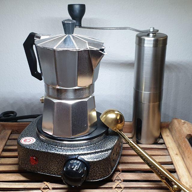 moka pot เครื่องชงกาแฟสด เครื่องชงกาแฟแคปซูล ชุดทำกาแฟสด Moka pot ขนาด 3 คัพ กาชงกาแฟสด ไม่แพง ชุดพร้อมชง