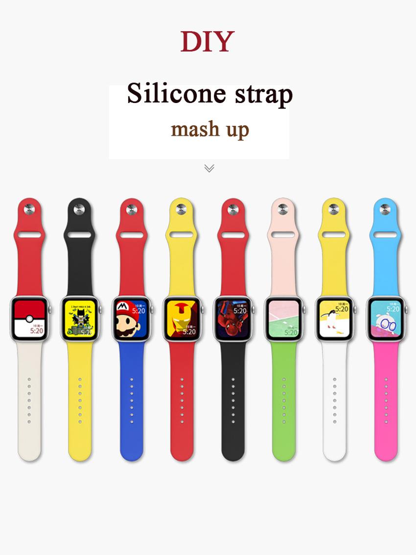 สายนาฬิกาข้อมือซิลิโคนสําหรับ Apple Watch Band 42 มม . 38 มม . 44 มม . 40 มม . Iwatch Series 5 4 3 2 1