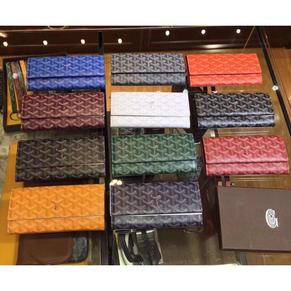 กระเป๋าสตางค์เปิดยาวGoya goyard long flip wallet กระเป๋าใส่มือถือกระเป๋าคลัทช์ 11 สีสามารถเพ้นท์ลาย Faye Wong สไตล์เดีย