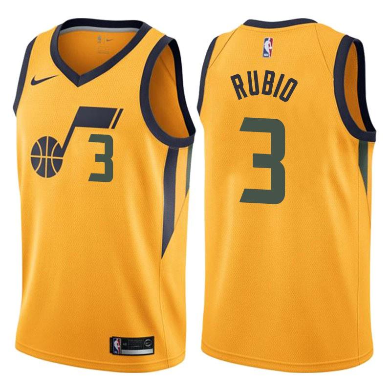 buy online 2f21a 987b2 COD really stock Ricky Rubio #3 Utah Jazz NBA Jersey Uniform yellow