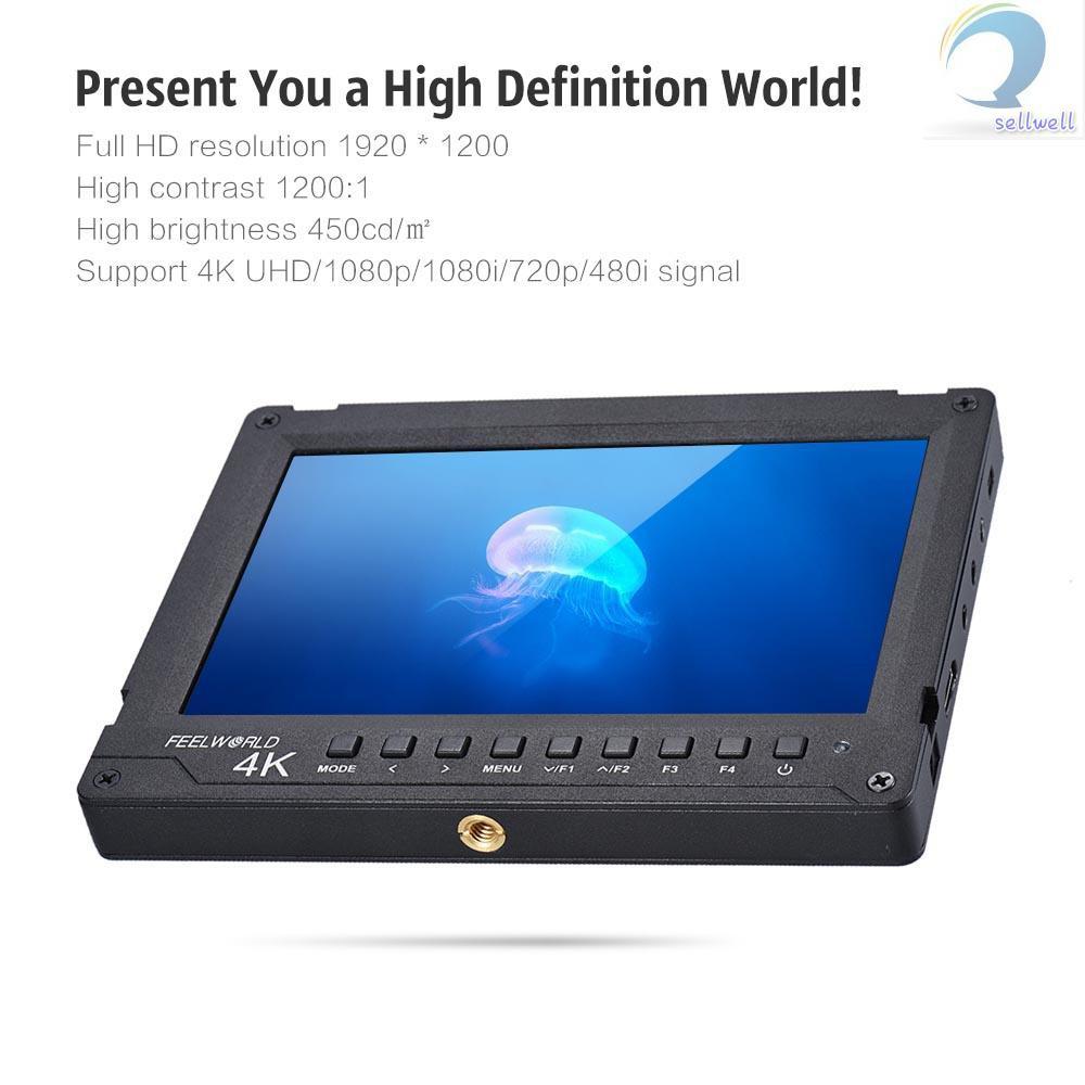 feelworld a 737 7 ips กล้องมอนิเตอร์ 1920x1200 full hd av in รองรับ 4 k สําหรับกล้อง dslr