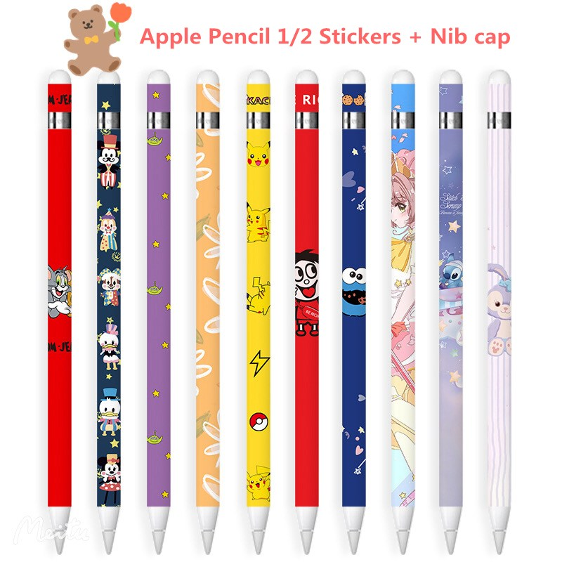 Scratchproof Ultra Thin Painted stickers for apple pencil 1/2 Touch Stylus pen Color sticker Non-slip Protective paper+Nib cap【Exquisite strap】