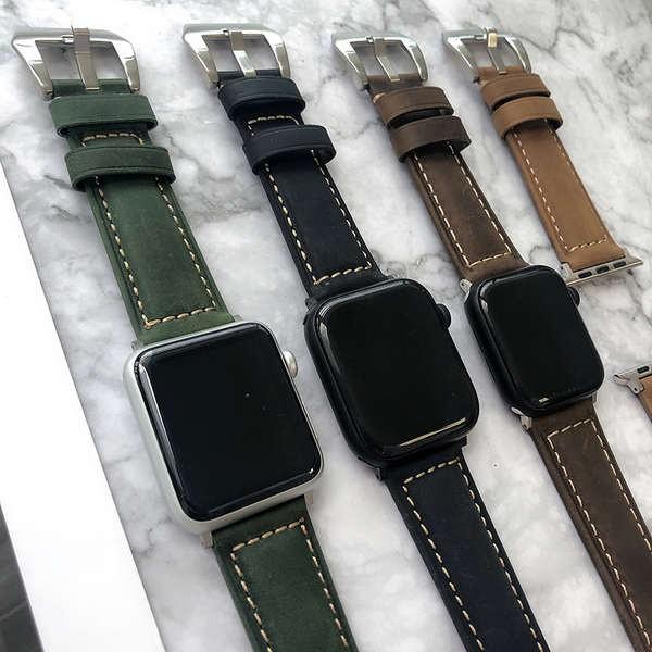 สาย applewatch หนังย้อนยุคเหมาะสำหรับสาย Apple iwatch แบรนด์น้ำ applewatch2345 รุ่นแฟชั่นสีเขียว SE 6