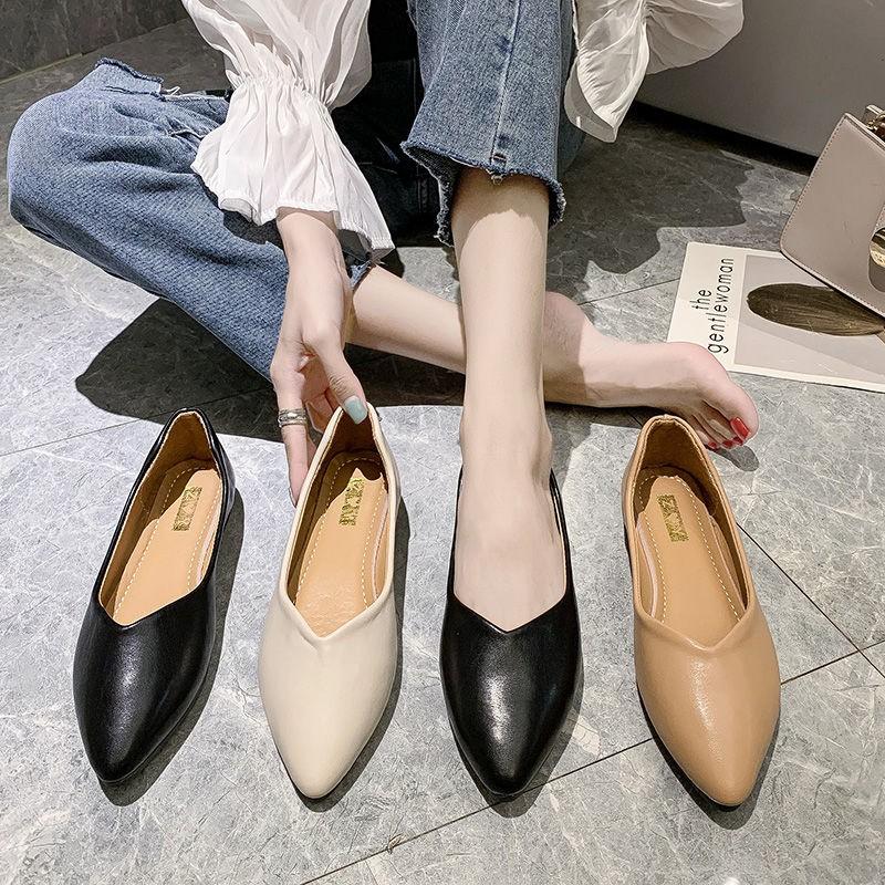 รองเท้าหัวแหลม รองเท้าส้นแบน  รองเท้าคัชชูผู้หญิง💗รองเท้าแฟชั่น รองเท้าโลฟเฟอร์  รองเท้าทำงานหนังสีดำ ทันสมัยทรงสวย