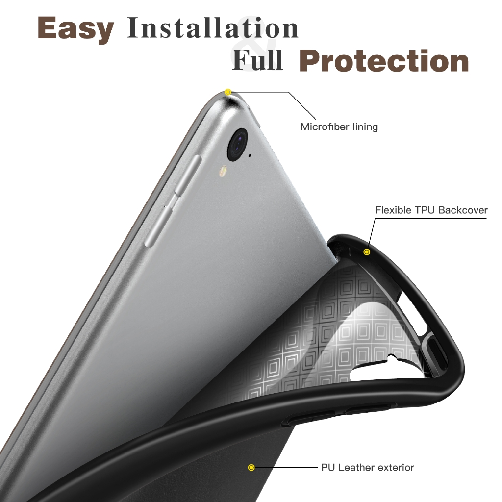 MoKo PU Leather + Back TPU Slim Smart Stand Case for iPad Pro 12.9 2017/2015 Tablet (1st & 2nd ) W/ Apple Pencil Holder