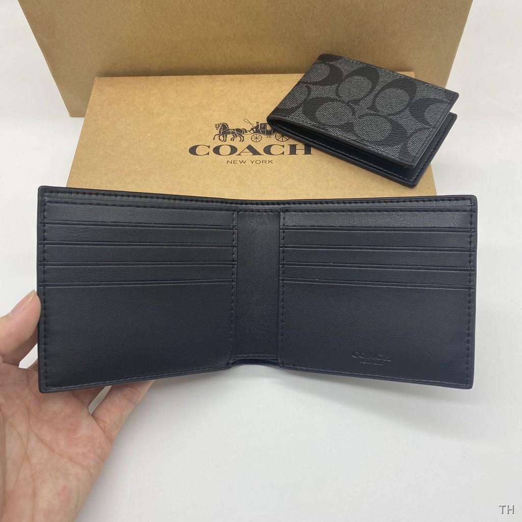 ♞►❆COACH F26072 กระเป๋าสตางค์แท้ 100% / กระเป๋าสตางค์ผู้ชายใบสั้น กระเป๋าใส่เหรียญ กระเป๋าใส่บัตร  กระเป๋าสตางค์พับ IhU2