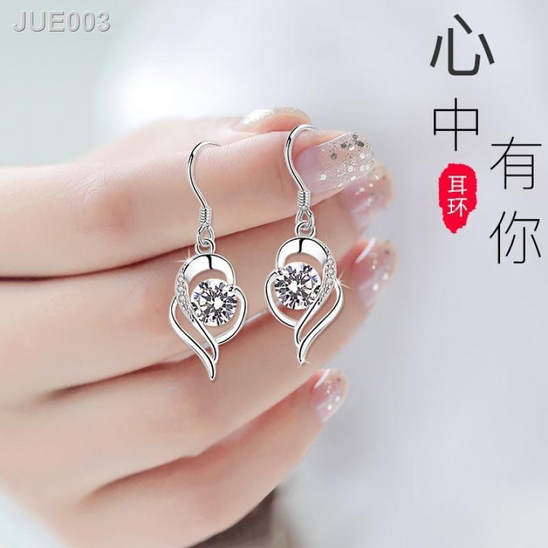 ⚡สินค้าคุณภาพราคาถูก⚡ของแท้ Chow Tai Sang PT950 ต่างหูทองคำขาว 18K ต่างหูทองคำขาวต่างหูของขวัญวันเกิดวันวาเลนไทน์1