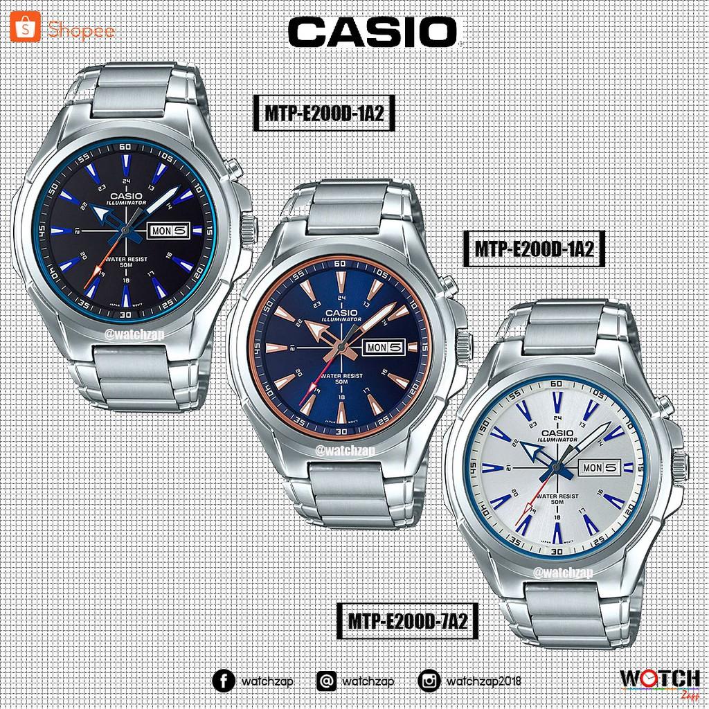 จัดส่งฟรีCASIO STANDARD นาฬิกาผู้ชาย สายสแตนเลส รุ่น MTP-E200D MTP-E200D-1A2 MTP-E200D-2A2