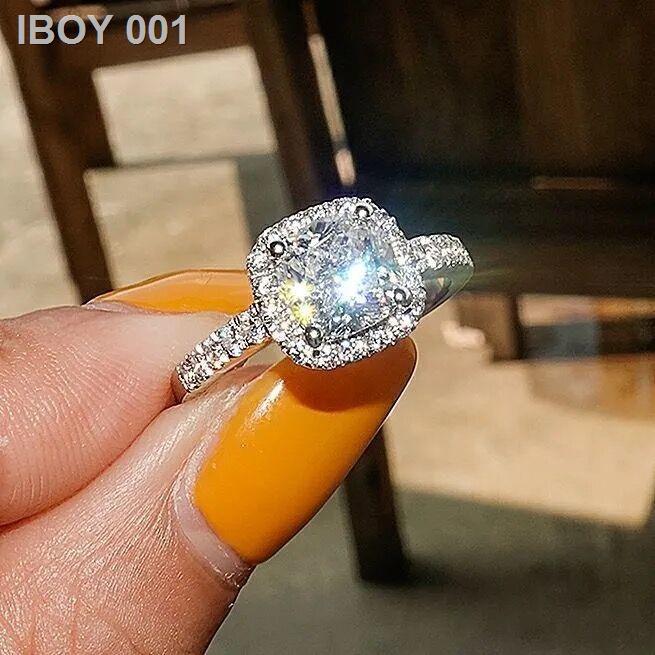❤ราคาถูก❤❣925 โมซานสโตน 1 กะรัตแหวนคู่ทองคำขาวชายและหญิงคู่แหวนเพชรเปิดแหวนทานาบาตะของขวัญวันวาเลนไทน์
